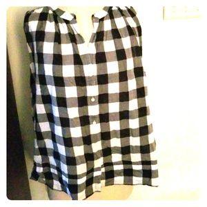 Loft flowy gingham /checkerboard sleeveless top